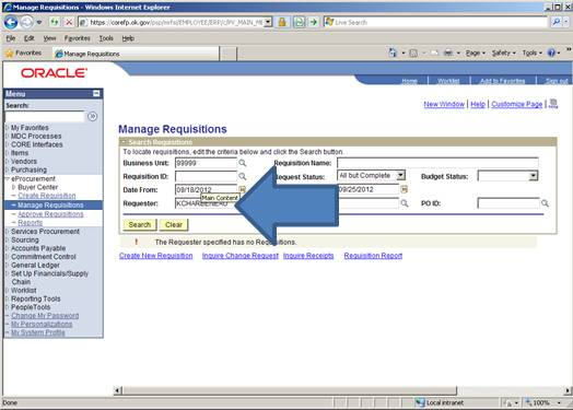 Screen shot of ePro showing how to search requisitions