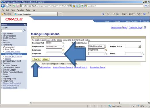 Screen shot of ePro showing how to clear fields and customer the search for a requisition