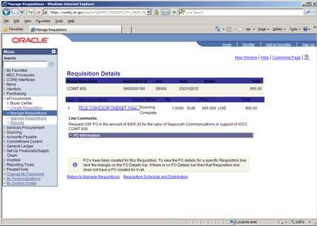 Screen shot of ePro showing requisition details