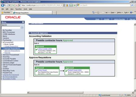 Screen shot of ePro showing accounting validations