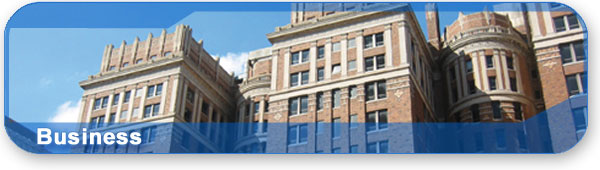 Business section banner with photo of the Skirvin Hotel in downtown Oklahoma City.