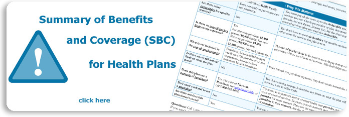 Banner image for the Summary of Benefits and Coverage for Health Plans.