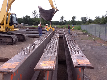 Steel beams for building bridges being stored in the District 2 yard